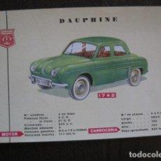Coleccionismo de carteles: AUTOMOVIL -COCHE- FICHA CARTEL CARACTERISTICAS - DAUPHINE RENAULT -VER FOTOS-(V-12.965). Lote 106253815