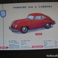 Coleccionismo de carteles: AUTOMOVIL -COCHE- FICHA CARTEL CARACTERISTICAS - PORSCHE 356 A CARRERA -VER FOTOS-(V-12.966). Lote 106254663