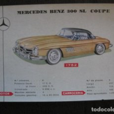 Coleccionismo de carteles: AUTOMOVIL -COCHE- FICHA CARTEL CARACTERISTICAS - MERCEDES 300 SL COUPE -VER FOTOS-(V-12.970). Lote 106265403