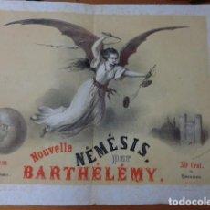 Coleccionismo de carteles: NOUVELLE NEMESIS PAR BARTHELEMY. 24 LIVRASIONS. 50 CENTS LIVRASION. CARTEL FRANCES 1845.. Lote 108285175