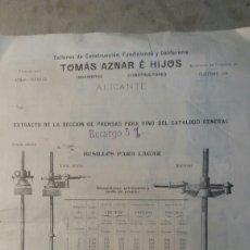Coleccionismo de carteles: ALICANTE TOMÁS AZNAR É HIJOS. Lote 109114047