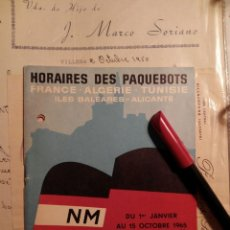 Coleccionismo de carteles: ALICANTE - ORAN - MARSEILLE COMPAÑÍA DE NAVEGACIÓN GUIA DE VIAJE 1965 HORARIOS ETC.. Lote 111050999