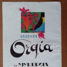 Coleccionismo de carteles: HOJA PUBLICIDAD PERFUME ORGIA MYRURGIA/GRAN TEATRO DEL LICEO TEMPORADA 1921-1922 . Lote 112219895