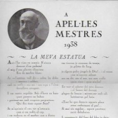 Collezionismo di affissi: A APEL·LES MESTRES 1938. COMISSARIAT DE PROPAGANDA GENERALITAT DE CATALUNYA. 22X16 CM.. Lote 112665959