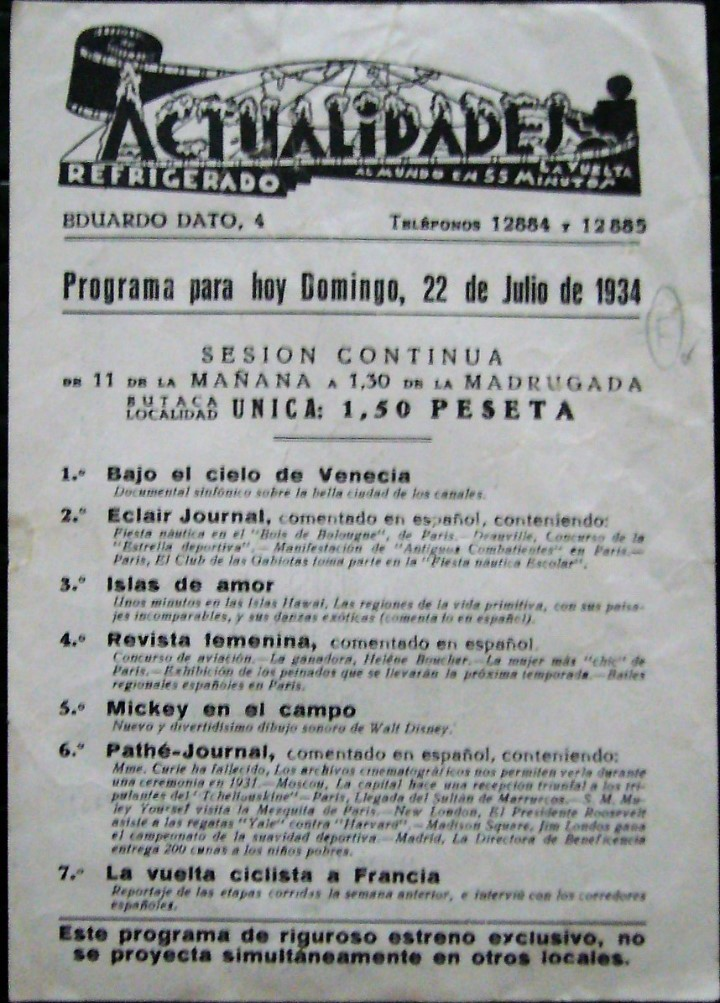 PROGRAMA CINE AÑO 1934 (Coleccionismo - Carteles Pequeño Formato)