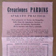 Coleccionismo de carteles: CARTEL FOLLETO PUBLICIDAD PARDINS APARATO PARA PREPARAR ROSQUILLAS REPOSTERIA COCINA. Lote 113484547