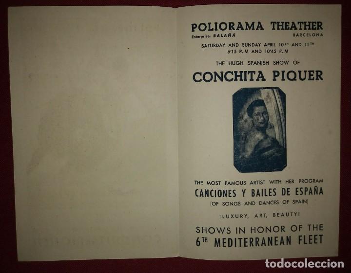 CONCHITA PIQUER - POLIORAMA THEATER díptico en inglés para turistas CANCIONES Y BAILES DE ESPAÑA - 153918761