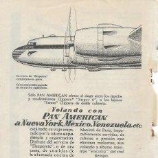 Collectionnisme d'affiches: PUBLICIDAD 1953 HOJA REVISTA ANUNCIO LÍNEA AÉREA PAN AMERICAN PAA CLIPPERS SUPER-6. Lote 114994479