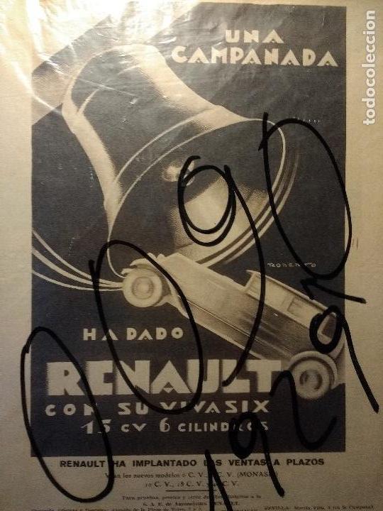 PUBLICIDAD. AUTOMOVILISMO. COCHES. AUTOMOVILES RENAULT. DIBUJO DE ROBERTO. ART-DECO. 1929. (Coleccionismo - Carteles Pequeño Formato)