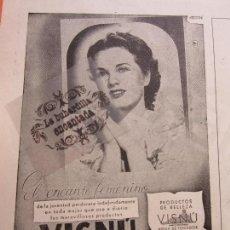 Coleccionismo de carteles: PUBLICIDAD 1947 - COLECCION PERFUMES - PRODUCTOS BELLEZA VISNU. Lote 116913087