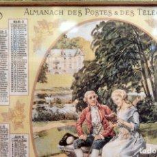 Coleccionismo de carteles: ALMANAQUE 1925 POSTES TELEGRAFICOS FRANCIA ENMARCADO 26CMX21CM. Lote 55554052