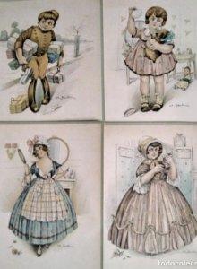 4 dibujos litografiados sobre cartón flexible - ch santini - originales años 20/30 - 35,5cm x 23,5cm