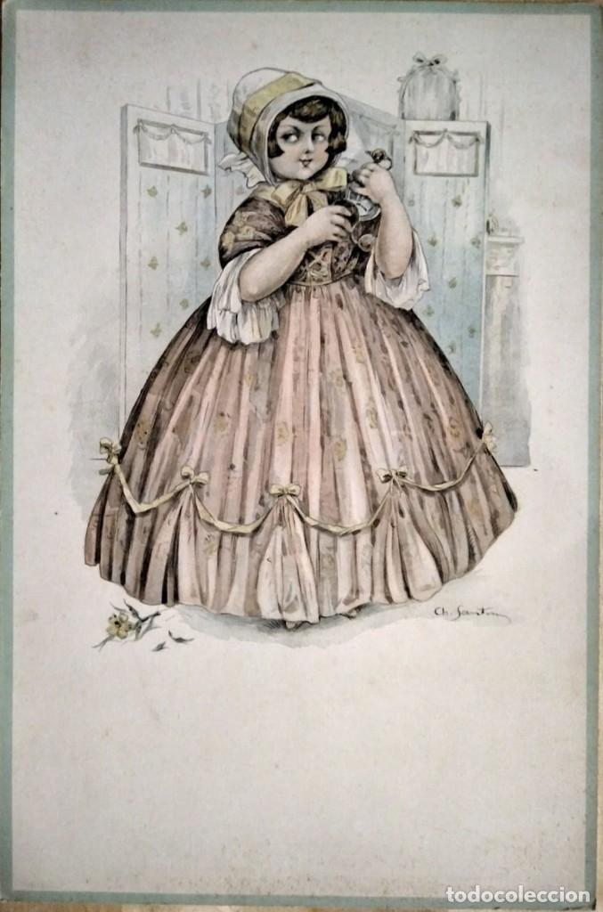 4 dibujos litografiados sobre cartón flexible - ch santini - originales años 20/30 - 35,5cm x 23,5cm - 117527675