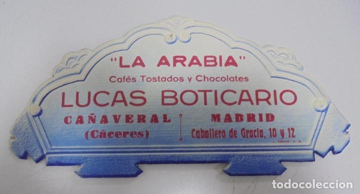 DISPLAY PUBLICITARIO. CAFES TOSTADOS Y CHOCOLATES. LA ARABIA. LUCAS BOTICARIO. CAÑAVERAL - MADRID. (Coleccionismo - Carteles Pequeño Formato)