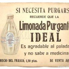 Coleccionismo de carteles: CARTEL PUBLICIDAD LIMONADA PURGANTE IDEAL. DR. M. CAMPOY. FARMACIA. MADRID AÑOS 20. Lote 117777231
