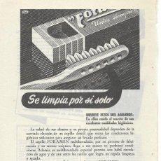 Coleccionismo de carteles: PUBLICIDAD 1953 HOJA REVISTA ANUNCIO CEPILLO LIMPIEZA DENTAL FORAMEN HIJO DE R. TRABAL PALET. Lote 117906479