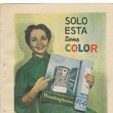 Coleccionismo de carteles: PUBLICIDAD 1954 HOJA REVISTA ANUNCIO NEVERA REFRIGERADOR FRIGORÍFICO FRIMOTOR WESTINGHOUSE SUPER-54 . Lote 117923407