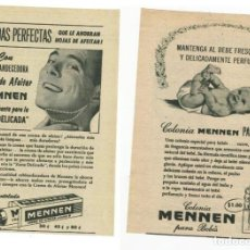 Coleccionismo de carteles: PEQUEÑO ANUNCIO PUBLICITARIO **MENNEN** CREMA DE AFEITAR Y COLONIA PARA BEBÉS (AÑOS 60). Lote 118934219
