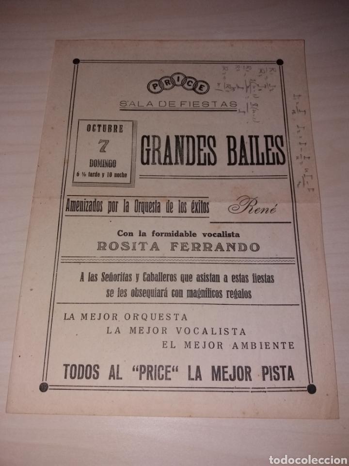 PEQUEÑO CARTEL PUBLICIDAD SALA DE FIESTAS PRICE - TENERIFE - AÑOS 30? (Coleccionismo - Carteles Pequeño Formato)