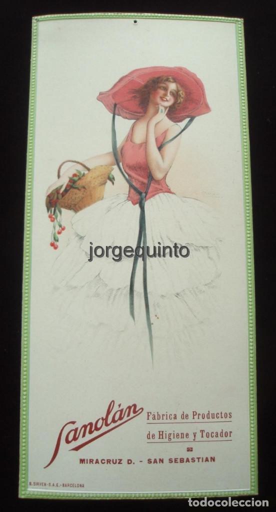 CARTEL. PUBLICIDAD DE PRODUCTOS SANOLÁN-SAN SEBASTIÁN. HACIA 1920. JULIO RUZAFA MONTOYA. MURCIA (Coleccionismo - Carteles Pequeño Formato)