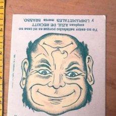Coleccionismo de carteles: TARJETA CON PUBLICIDAD AZUL DE RECKITT Y LIMPIAMETALES MARCA BRASSO . Lote 119146251