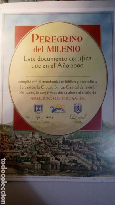 PEREGRINO DEL MILENIO. CERTIFICADO AÑO 2000. (Coleccionismo - Carteles Pequeño Formato)