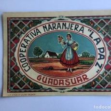 Coleccionismo de carteles: CARTELES PUBLICITARIOS ORIGINALES, LA PAZ, NARANJAS, 1940, MEDIDAS 20 POR 27 CM. Lote 119593763
