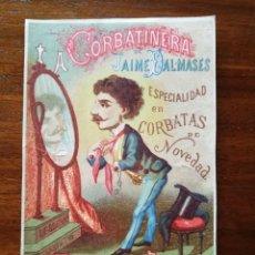 Coleccionismo de carteles: LA CORBATINERIA DE JAIME DALMASES , ESCUDILLERS 60 - BARCELONA - SIGLO XIX - LITOGRAFÍA PUBLICITARIA. Lote 120995047