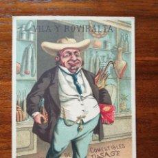 Coleccionismo de carteles: ALMACEN DE COMESTIBLES VILA Y ROVIRALTA - BARCELONA - SIGLO XIX - PRECIOSA LITOGRAFÍA PUBLICITARIA. Lote 120995191