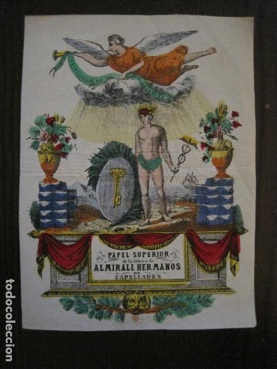 PAPEL SUPERIOR-ALMIRALL HERMANOS-CAPELLADES - CARTEL PUBLICIDAD-MIDE 14 X19 CM.-VER FOTOS-(V-14.520) (Coleccionismo - Carteles Pequeño Formato)