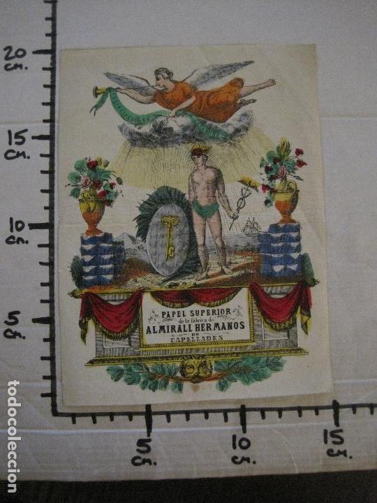 Coleccionismo de carteles: PAPEL SUPERIOR-ALMIRALL HERMANOS-CAPELLADES - CARTEL PUBLICIDAD-MIDE 14 X19 CM.-VER FOTOS-(V-14.520) - Foto 6 - 121063411