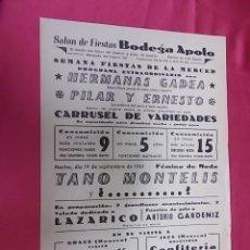 Coleccionismo de carteles: SALÓN DE FIESTAS BODEGA APOLO. PROGRAMA EXTRAORDINARIO. 1961. Lote 121296347