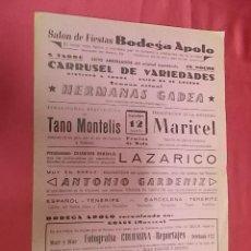 Coleccionismo de carteles: SALÓN DE FIESTAS BODEGA APOLO. EXITO ARROLLADOR. 1961. Lote 121296475