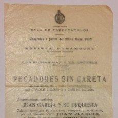 Coleccionismo de carteles: PROGRAMA CINE, EDIFICIO CARRION. PECADORES SIN CARETA, C. LOMBARD Y CARLLES MORRIS 1934. Lote 122001503