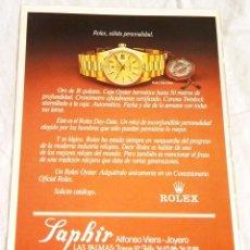 Coleccionismo de carteles: PUBLICIDAD EXTRAÍDA DE REVISTA - RELOJ ROLEX OYSTER - 23X16CM / 1985. Lote 125203091