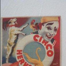 Coleccionismo de carteles: ANTIGUO PEQUEÑO CARTEL PROGRAMA.CIRCO HERVAS.PERY Y CUGATY.HERMANAS JENER.NANIN.GELMY.AÑOS 50?. Lote 125233859