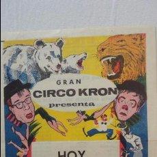 Coleccionismo de carteles: MINI CARTEL PROGRAMA.CIRCO KRON.OSCAR CIRCENSE 1964.HERMANOS CAPE.TOWER CIRCUS.CIRQUE PINDER.. Lote 125234903