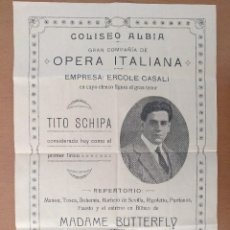 Coleccionismo de carteles: CARTEL COLISEO ALBIA BILBAO 1917 OPERA ITALIANA TITO SCHIPA MADAME BUTTERFLY 22 X 32 CM (APROX). Lote 125380047