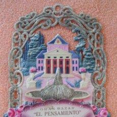 Coleccionismo de carteles: TOBARRA(ALBACETE) GRAN BAZAR-EL PENSAMIENTO- CARTEL TROQUELADO Y CALADO CON RELIEVES,HACIA 1920. Lote 125434863