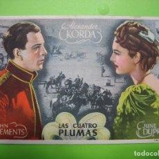 Coleccionismo de carteles: 11 PROGRAMA DE CINE. LAS CUATRO PLUMAS. Lote 125446431