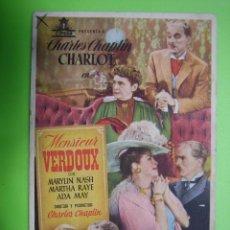 Coleccionismo de carteles: 11 PROGRAMA DE CINE. MENSIERUR VERDOUX. CINE PRINCIPAL. Lote 125446763