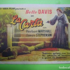 Coleccionismo de carteles: 11 PROGRAMA DE CINE. LA CARTA. CINE NUMANCIA. Lote 125446979