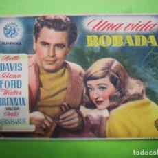 Coleccionismo de carteles: 11 PROGRAMA DE CINE. UNA VIDA ROBADA. Lote 125447135