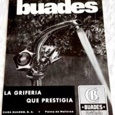 Coleccionismo de carteles: ANTIGUA PUBLICIDAD GRIFERÍAS BUADES - 27X20,5CM. - EXTRAÍDO DE REVISTA.. Lote 126911387
