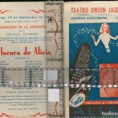 Collezionismo di affissi: TEATRO UNIÓN JAQUESA LA LOCURA DE ALICIA. Lote 127190839