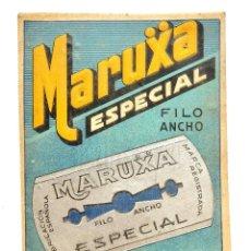 Coleccionismo de carteles: CARTEL TROQUELADO PUBLICIDAD CUCHILLAS HOJAS DE AFEITAR MARUXA FILO ANCHO AÑOS 40 - 50. Lote 127629787