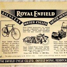 Coleccionismo de carteles: ANTIGUA PUBLICIDAD ROYAL ENFIELD - 12X16,5CM. - EXTRAÍDO DE LIBRO 1937. Lote 128011719