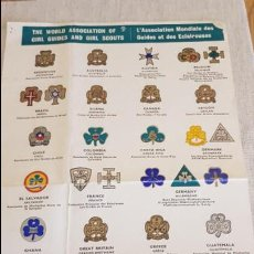 Coleccionismo de carteles: THE WORLD ASSOCIATION OF GIRL GUIDES AND GIRL SCOUT / INSIGNIAS MUNDIALES / DOBLADO 4 PARTES. 1962. Lote 128316711