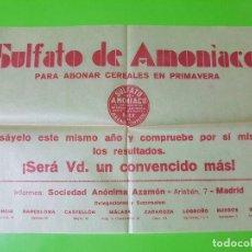 Coleccionismo de carteles: CARTEL MUY MUY ANTIGUO EN PAPEL DE ARROZ O SIMILAR DE SULFATO DE AMONÍACO EN TAMAÑO FOLIO. Lote 128590491