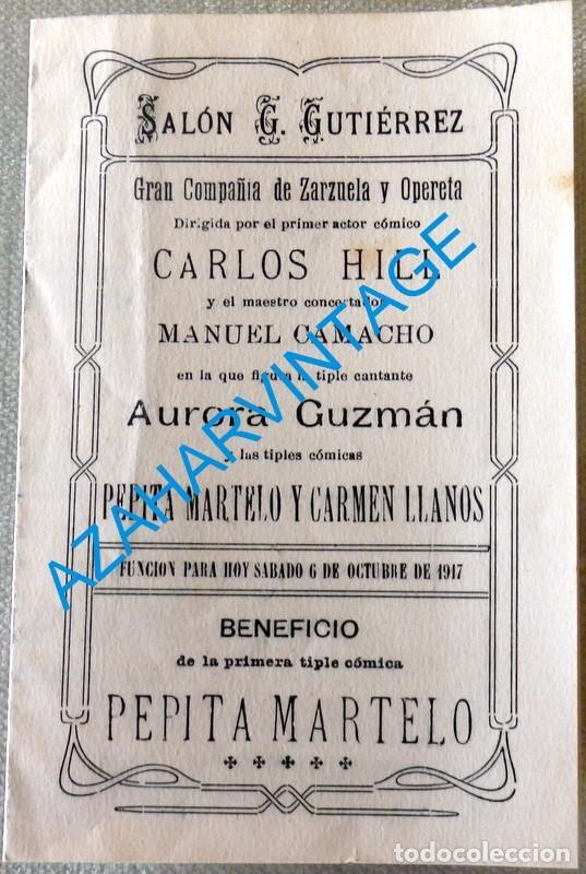 CHICLANA DE LA FRONTERA, 1917,SALON G.GUTIERREZ, FUNCION A BENEFICIO DE PEPITA MARTELO, LEER MEDIDAS (Coleccionismo - Carteles Pequeño Formato)